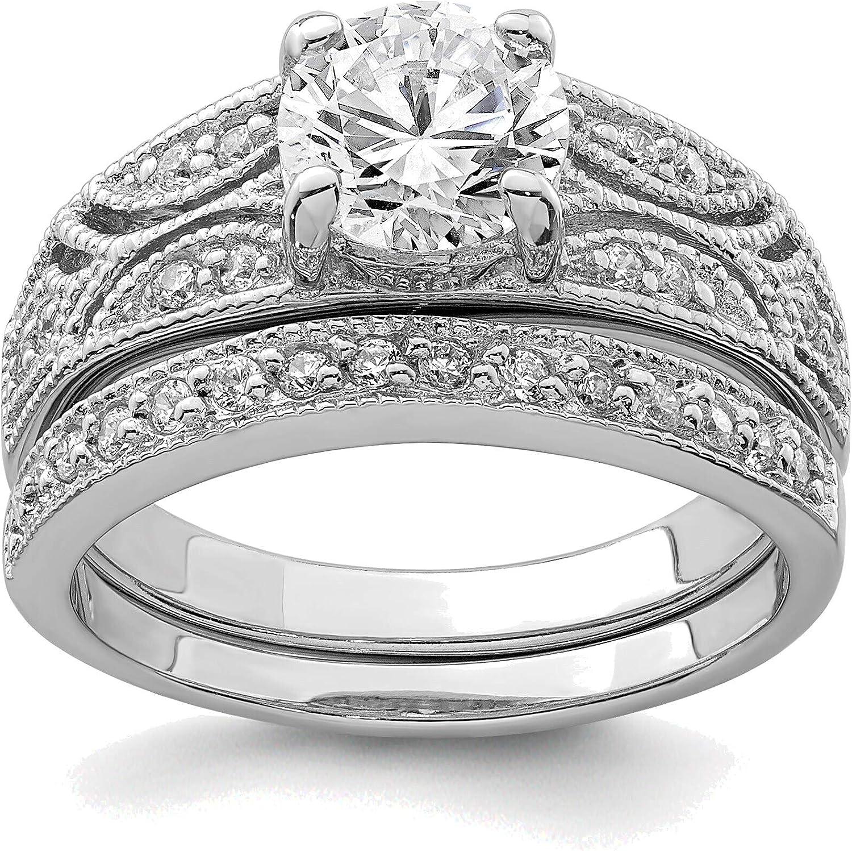 Bonyak Jewelry Solid Phoenix Mall Sterling Silver W Max 47% OFF CZ 2-Piece Rhodium-Plated