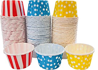 Mini Candy Nut Paper Cups - MINI Baking Liners - Circus Theme Red Blue Yellow Polka Dot - 100 Pack