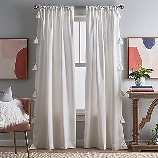 "Peri Home Chunky Tassel Rod Pocket Window Curtain Panel Pair, 108"", White with White Tassel"