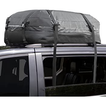 Cargo Roof Bag - 100% Waterproof – NO RACKS NEEDED – Easy to Install - Soft Rooftop Luggage Carriers with Wide Straps –Folds Easily - Best for Traveling, Cars, Vans, SUVs (Black - 15 Cubic Feet)