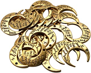 JETEHO 20Pcs Gold Double-Faced Message Moon Luna Crescent Symbol Charm DIY Jewelry Making Pendant I Love You to The Moon and Back