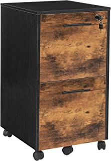 HOOBRO Caisson de Bureau 2 tiroirs, Rangement Bureau Mobile pour Dossier, avec Serrures et roulettes, Barres pour Dossiers...