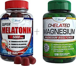 Magnesium Glycinate 200mg and Melatonin (Sleep Bundle) 10mg Gummies Ultra Bioavailable Best Chelated Magnesium