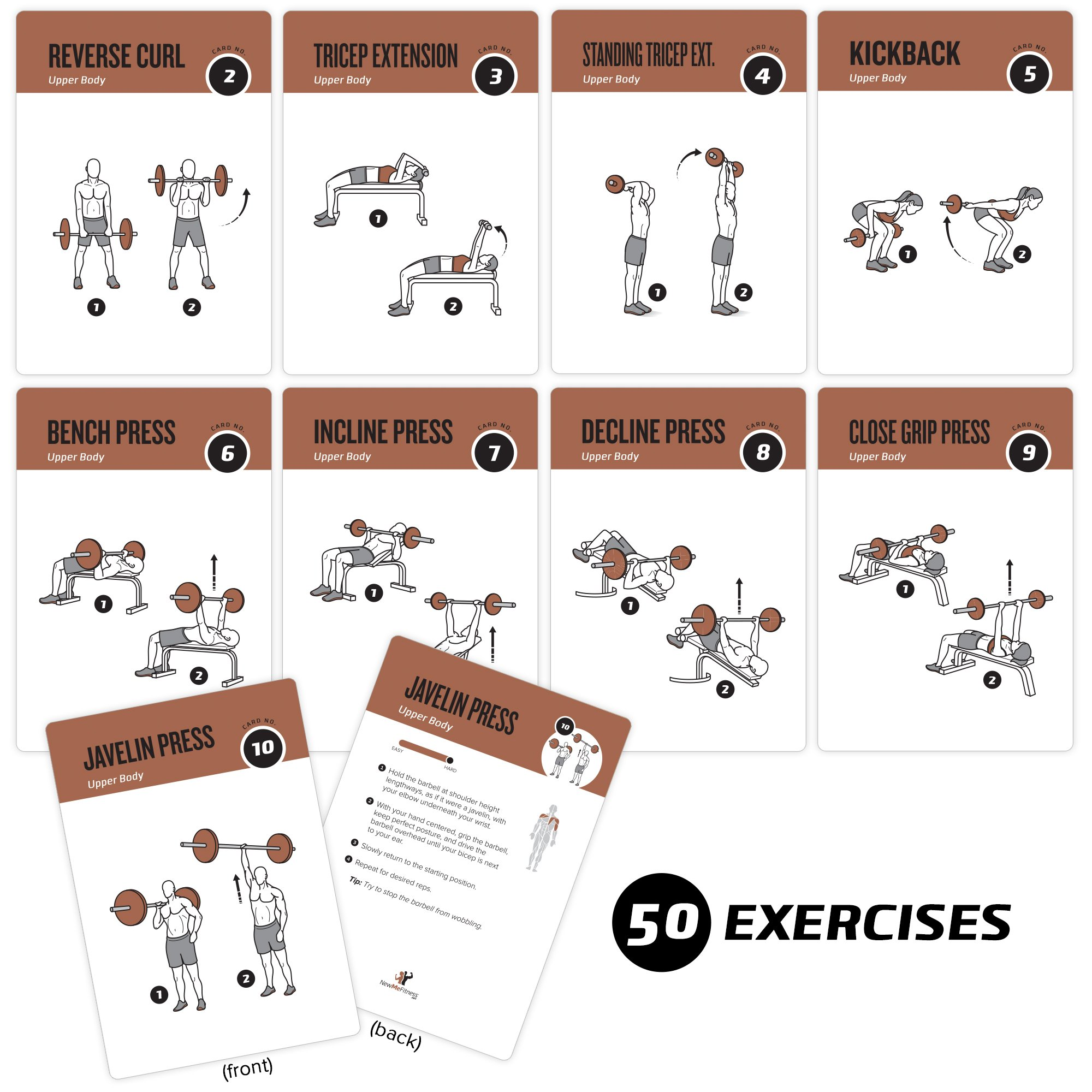 Newme Fitness Barbell Exercise Cards Contains 50 Barbell Exercises Total Body Workout Perfect For Home Workouts Your Personal Trainer Large Durable Waterproof 3 5 X5 Cards Amazon Sg Home