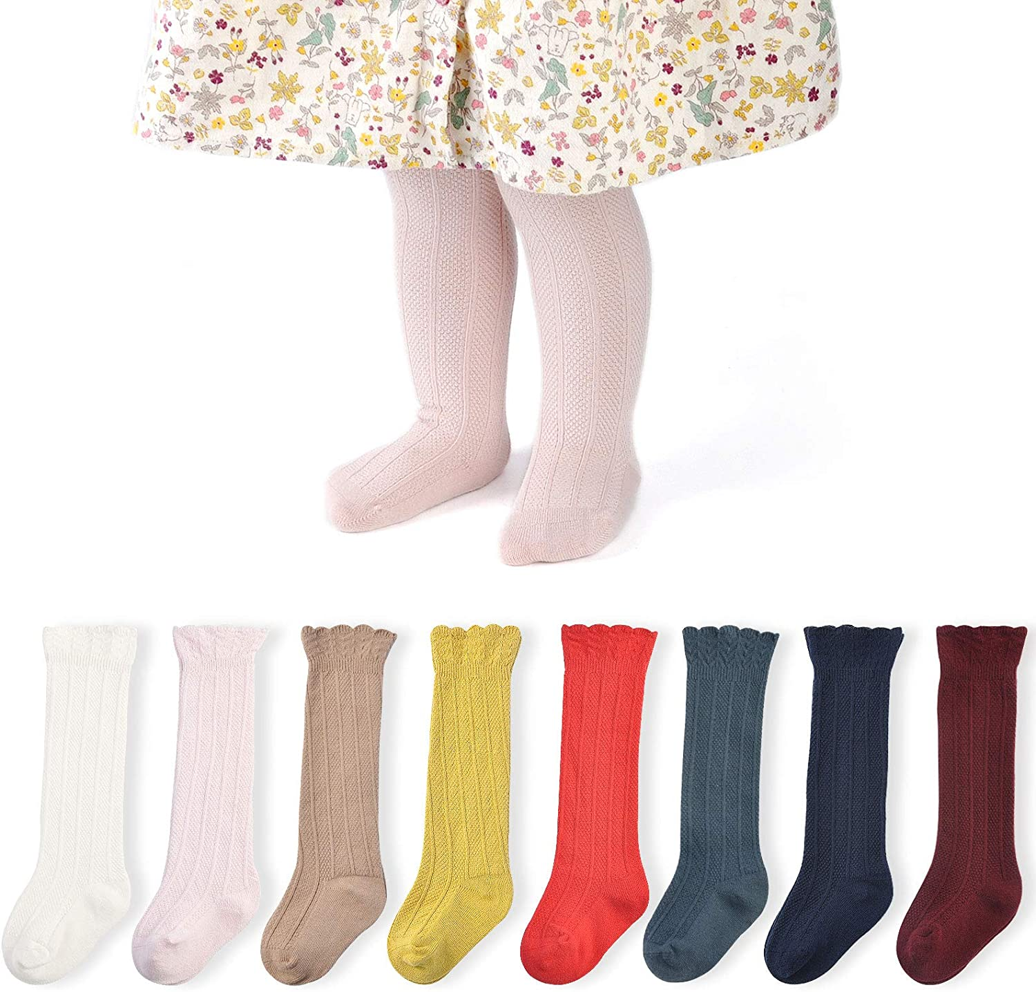 Baby Girl Knee High Socks 5/6/8 Pairs Knit Tube Ruffled Hollow out Long Stockings with Bow for Newborn Infant Toddler Kids