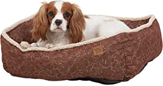 MuttNation Fueled by Miranda Lambert Lambswool Tooled Leather Printed Lounger Dog Bed, Brown