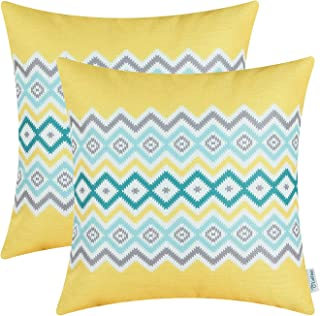 CaliTime Pack of 2 Soft Canvas Throw Pillow Covers Cases for Couch Sofa Home Decor Bohemian Style Colorful Zigzag Striped Geometric 18 X 18 Inches Bright Yellow