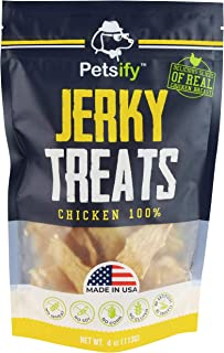 Petsify Dog Jerky Treats - Premium Chicken - Dog Treats Made in USA Only. All Natural - Healthy, No Preservatives, Grain Free - Great for Training!