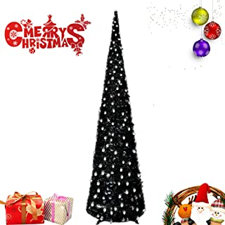 5FT Pop Up Tinsel Christmas Slim Trees W/ Shiny Skull Sequins for Carnival Party Supplies, Collapsible Artificial Pencil Halloween Xmas Thin Tree with Plastic Stand for Fireplace & Office & Classroom