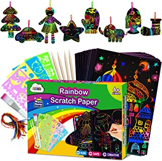 ZMLM Scratch Paper Art Set for Kids - Rainbow Magic Scratch Off Arts and Crafts Supplies Kits Sheet Pack for Children Girl...