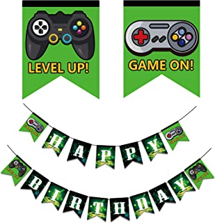 Video Game Happy Birthday Banner, Gaming Party Supplies with Game On & Level Up Pictures, Party Favors Decorations for Boys and Kids Gamer Birthday Party