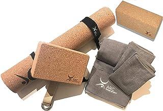ARC Natural Cork Yoga Set Starter Kit, 8 Pieces Equipment, Includes 1 CORK (4mm) Yoga Mat, 2 Yoga Blocks, 2 Yoga Straps, 1...