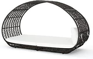 Bedford Outdoor Wicker Overhead Canopy Daybed w/Water Resistant Cushion (Multibrown/White)