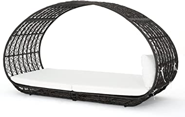 GDFStudio Bedford Outdoor Wicker Overhead Canopy Daybed w/Water Resistant Cushion (Multibrown/White)
