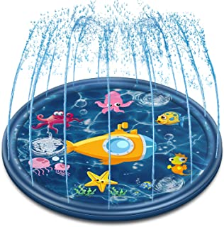Neteast Outdoor Sprinkler Mat Water Toys for Kids and Toddlers, 68'' Outside Splash Pad Water Toys for 1 2 3 4 5 6 7 8 Year Old Boys and Girls Baby