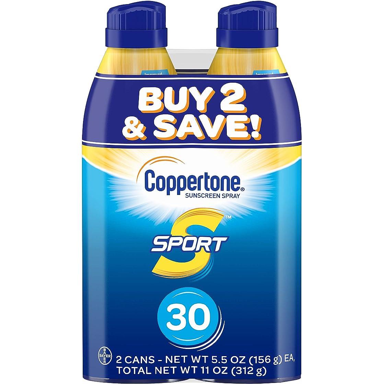 ジレンマ偉業消防士Coppertone スポーツ連写日焼け止め広域スペクトルSPFスプレー30(5.5オンスボトル、ツインパック)