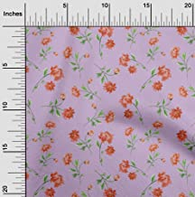 oneOone Cotton Silk Light Purple Fabric Flower & Leaves Watercolor DIY Clothing Quilting Fabric Print Fabric by Meter 42 I...