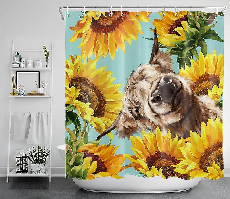 ECOTOB Funny Highland Cow Shower Curtain for Bathroom, Modern Farmhouse Sunflower Bath Curtains, Yellow Floral Farmhouse Decor Fabric Farm Animal Shower Curtains with Hooks, 69
