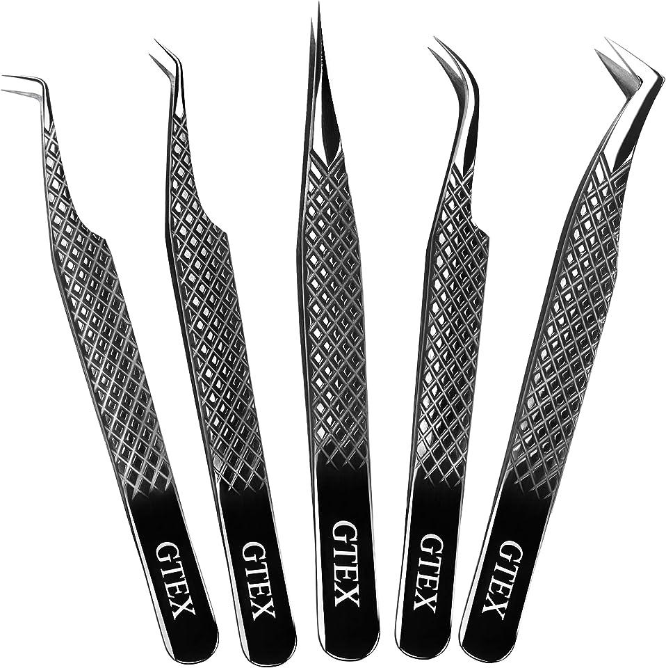GTEX Lash Eyelash Extension Tweezers Set of 5, Japanese Stainless Steel Tools Straight Curved 45 90 Degree Angled Tip, Volume Tweezers Precision Black
