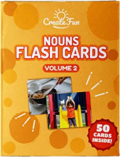 CreateFun Noun Flash Cards - 50 Educational Vocabulary Builder Picture Cards - 5 Learning Games - Toddlers, Preschool Teachers, Speech Therapy Materials and Special Education Supplies