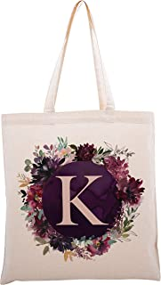 Floral Initial Tote Bag Event Bachelorette Party Baby Shower Bridesmaid Dsgn #3