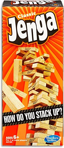 Jenga Game - Classic Strategy Games with Wooden Blocks - 1 or More Players - Toys for Kids and Board Games - Ages 6+