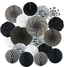 Hanging Paper Fan Set, Cocodeko Tissue Paper Pom Poms Flower Fan and Honeycomb Balls for Birthday Baby Shower Wedding Festival Decorations - Black