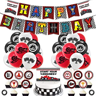 Race Car Hot Wheels Party Decoration and Supplies - Happy Birthday Race Car Banner, Balloons and Racing Car Cake Toppers f...