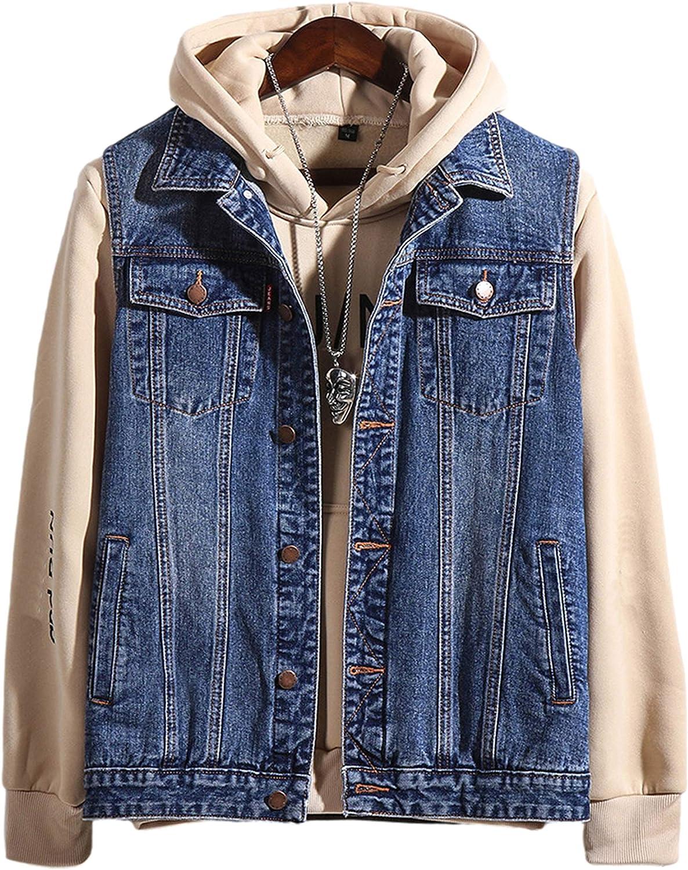 Uaneo Men's Casual Vintage Sleeveless Lapel Collar Denim Jean Jacket Vests(Blue-L)