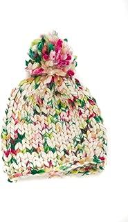 Multicolor Chunky Knitted Pom Pom Cap - Handmade in Italy