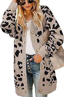 Msikiver Womens Fuzzy Leopard Print Cardigan Sweater Open...