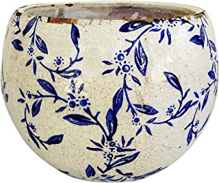 Old World Hand-Pressed Ceramic Blue and White Round planters or Garden pots (Round Shape Vine Print 6.25 inches Tall)