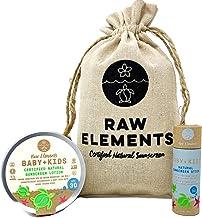 product image for Raw Elements Baby + Kids SPF 30 Organic Sunscreen Zero-Waste Bundle with Lotion Tin 3oz, Lotion Stick 1oz and Hemp Drawstring Bag