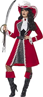 Smiffys Adult's Womens High Seas Scarlet Red Pirate Captain Costume