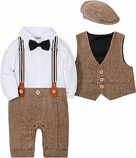 SANMIO Zestaw odzieży dla chłopców na chrzest, dla chłopców 3-częściowy z muchą + kamizelka + kapelusz Gentleman z długim ...