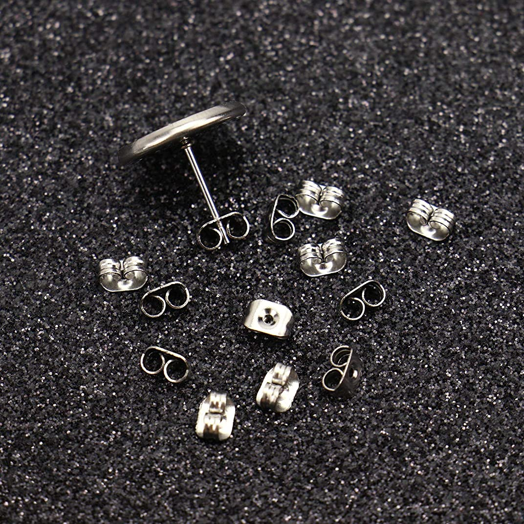 Monrocco 50 Sets 12MM Silver Stainless Steel Stud Earring Blanks with Backs Bezel Tray Cabochons Setting Earring Post for Jewelry Making