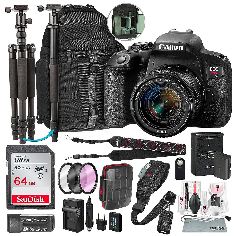 Canon EOS REBEL t7i DSLR 相机带 EF-S 18?–?55?mm f/3.5?–?5.6?IS 镜头和64?GB + 三脚架 / monopod + DSLR 背包 + 豪华高级配件套餐 & 旅行套装