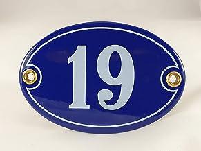 Emaille huisnummerbordje nr. 19, ovaal, blauw-wit Nr. 19 Blau-Weiß + Schrauben und Dübel