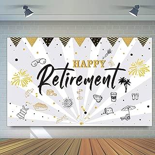 GTN Tech Happy Retirement Banner Party Decorations - Retire Celebration Sign Photo Booth Backdrop Supplies Decors