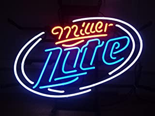 42X32cm Miller lite Real Glass Neon Signs Home Gifts Beer Bar Pub Recreation Room Man cave Decoration Game Lights Windows Garage Wall Signs (White)