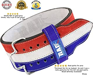 RAD Weight Lifting Leather Belt Powerlifting and Weightlifting Workout for Men & Women,  Gym Back Support. Release Buckle