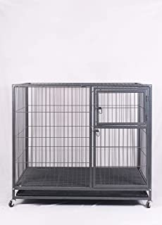 TAIYO PLUSS DISCOVERY Heavy Duty Dog Crate Strong Metal Double Door Dog Crate with Wheels Model No:F512 (48.5X29X42.5 inch)(LXWXH)