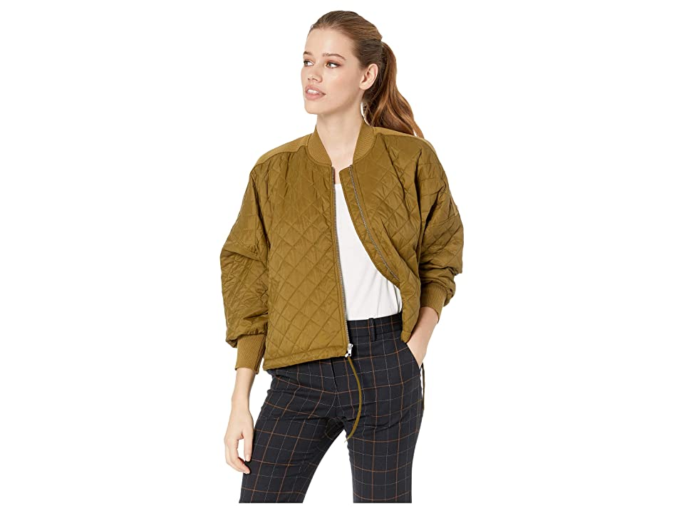 Jack by BB Dakota Girl Friday Quilted Bomber Jacket with Rib Trim (Fir Green) Women