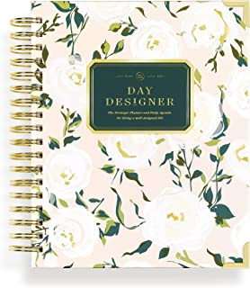 """$64 » Day Designer 2020-2021 Academic Year Daily Life Planner and Agenda, Hardcover, Twin-Wire Binding, 9"""" x 9.75"""", Coming Up Roses"""
