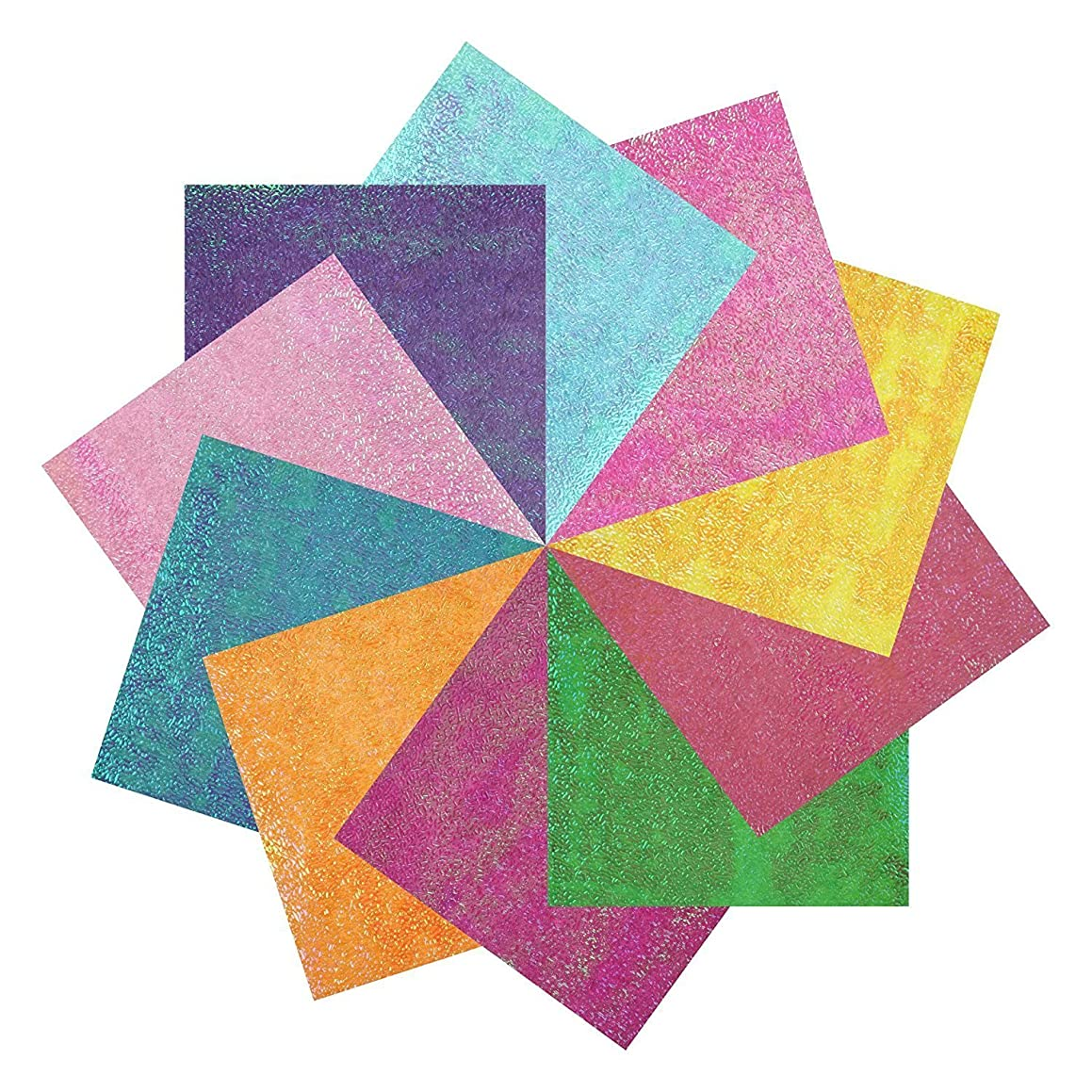 1Pack(50pcs) Easy Origami Iridescent Paper for Beginners,DIY Cool Simple Origami Crane for Paper Art (15 X 15)