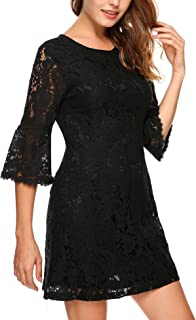Women's 3/4 Flare Sleeve Floral Lace Elegant A-Line Cocktail Party Mini Dress