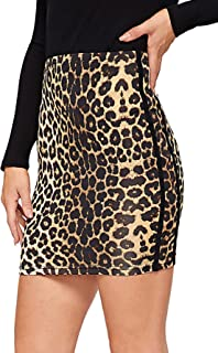 Floerns Women's Stretch Side Plaid Print Bodycon Mini Skirt