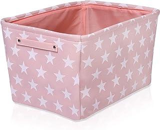Rosa Segeltuch Aufbewahrungskorb - Hochwertiger rechteckiger Stoffkorb mit weißen Sternen - Perfekt für die Aufbewahrung von Haushaltsutensilien, Stoffen oder Spielzeug. Größe: 40 cm x 30 cm x 25 cm.