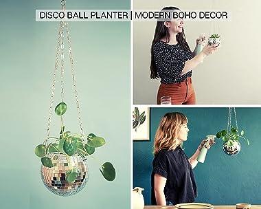 "DADO 4"" Disco Ball Planter - Disco Planter for indoor plants- Disco Ball Plant Hanger - unique plant pots - Boho Disco Ba"