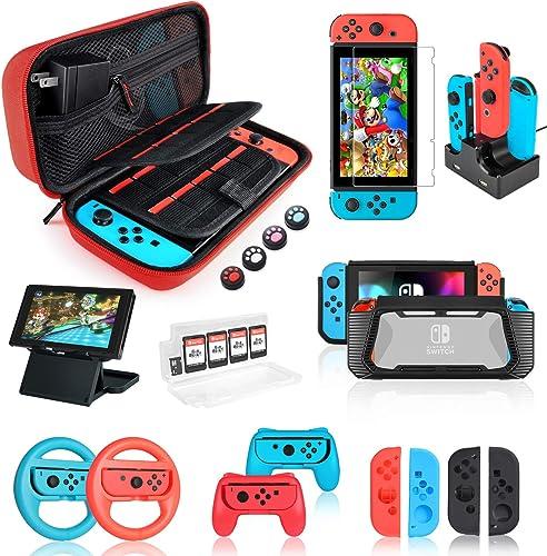 Funda protectora de accesorios para Nintendo Switch 18 en 1 con protector de pantalla, soporte para juegos, carcasa p...